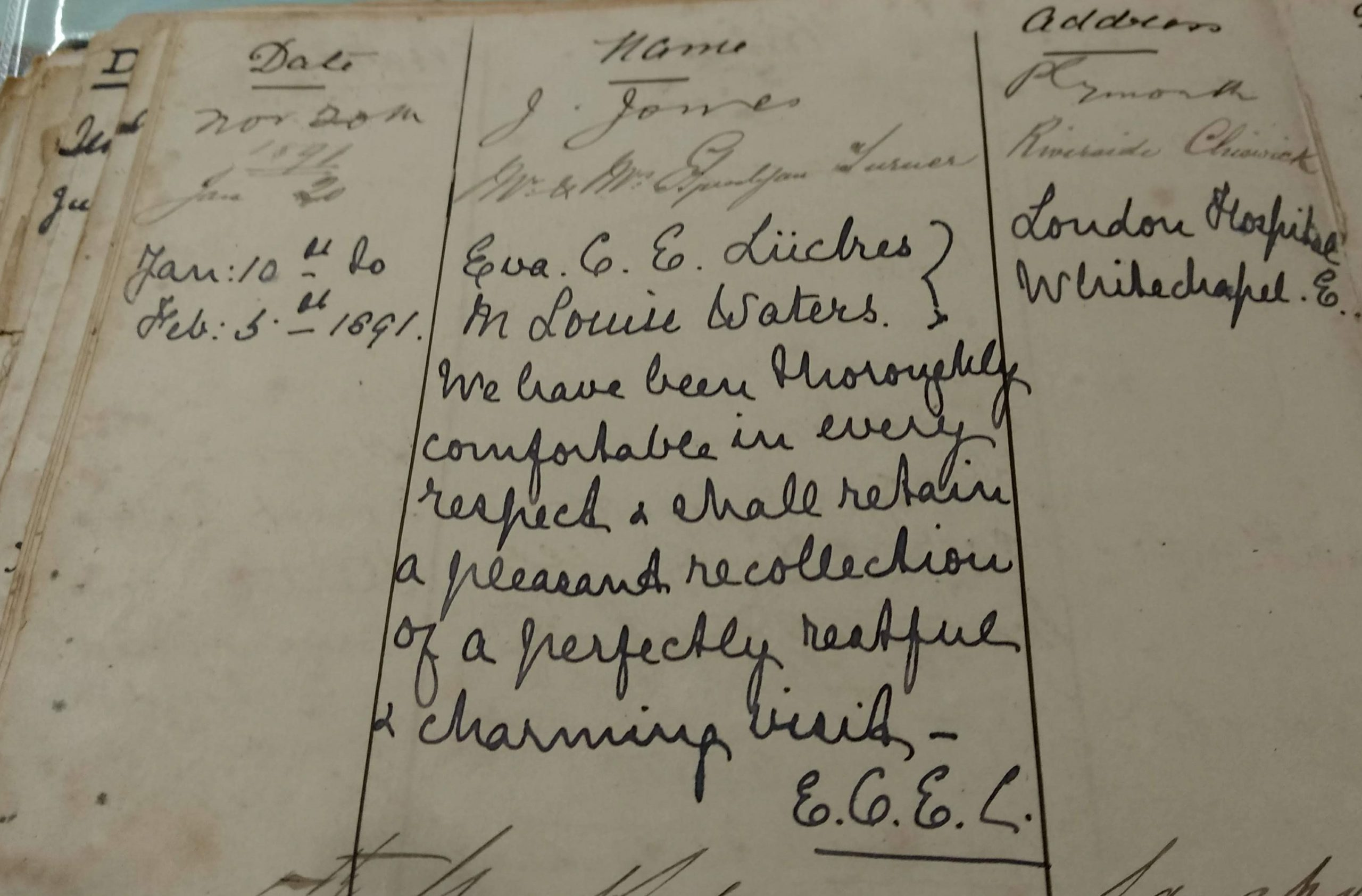 Eva Luckes's entry in Tregarthen's Visitors' Book